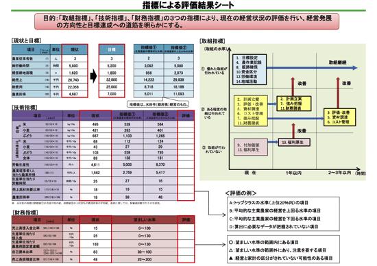 指標による評価結果シート