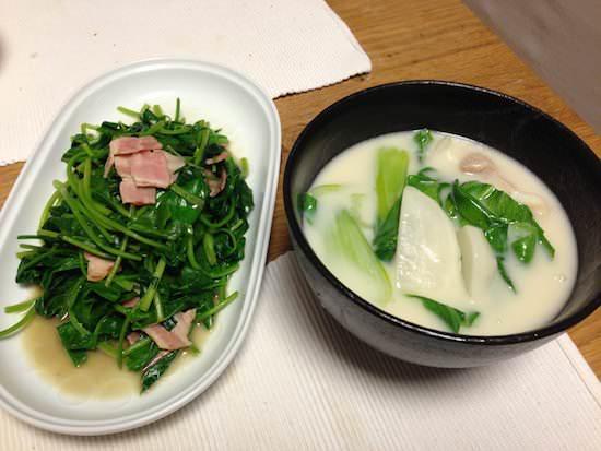 収穫野菜で料理