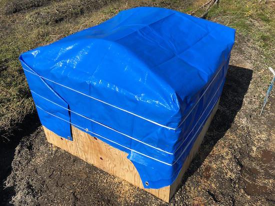仕込んだ籾殻堆肥をブルーシートで覆う
