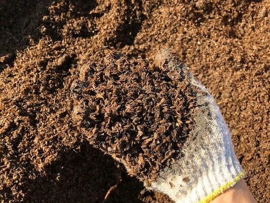 完成した籾殻堆肥