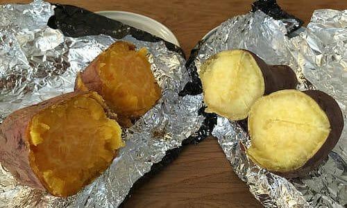 安納芋と鳴門金時で焼き芋食べ比べ(と、石焼きいも黒ホイル使用レポ)