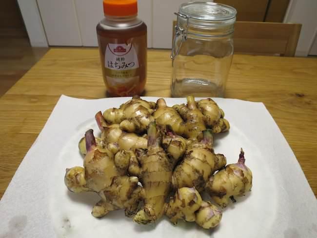 材料 - 新生姜のはちみつ漬けの作り方