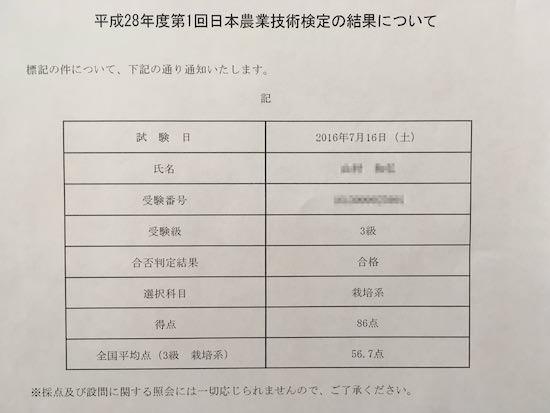 日本農業技術検定テスト結果