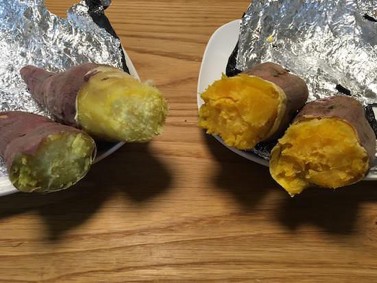 安納芋と紅はるかの焼き芋食べ比べ