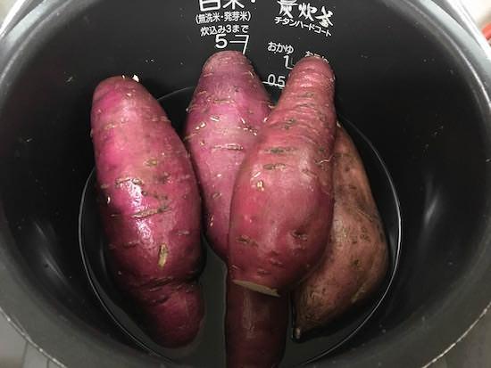 サツマイモを炊飯器で蒸す