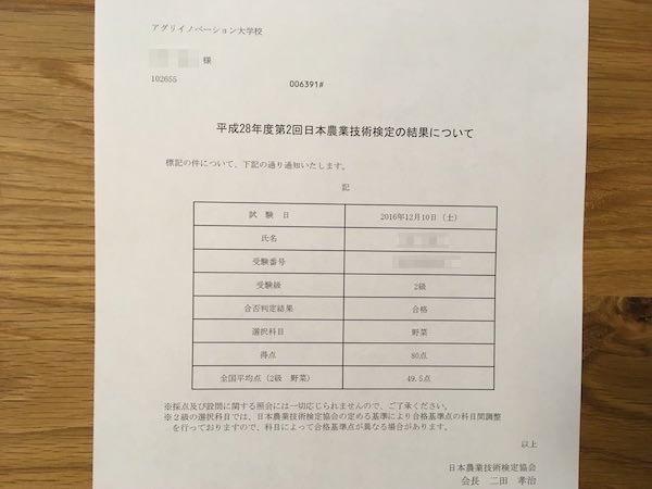 日本農業技術検定2級の試験結果